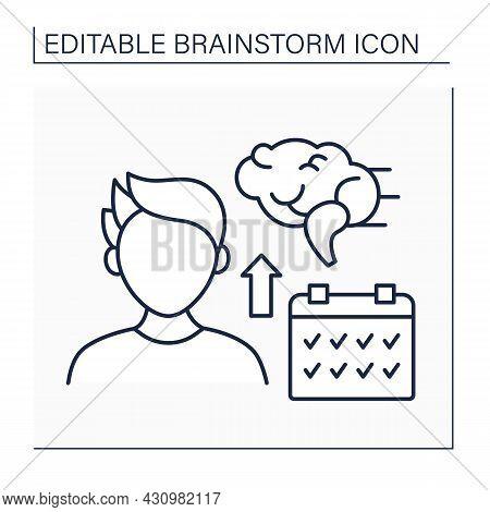 Calendar Line Icon. Man Has Plans. Overthinking. Schedule For Brainstorm Session. Brainstorm Concept