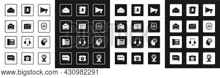 Set Megaphone, Website And Envelope, Chat Messages Notification Laptop, Envelope, Shield With Mail E