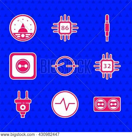 Set Electric Circuit Scheme, Electrical Outlet, Processor With Microcircuits Cpu, Plug, Audio Jack A