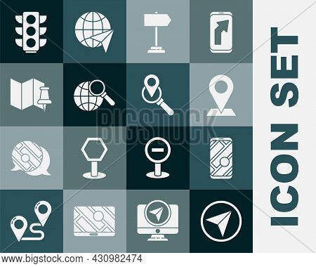 Set Infographic Of City Map Navigation, City, Location, Road Traffic Sign, Magnifying Glass With Glo