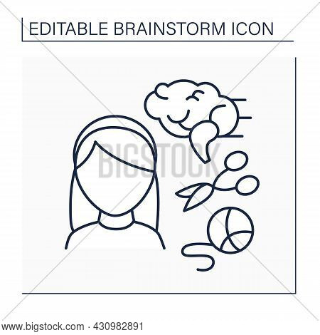 Hobby Line Icon. Craft Hobby. Embroidery For Movement Skills. Activate Thinking In Kids. Brainstorm