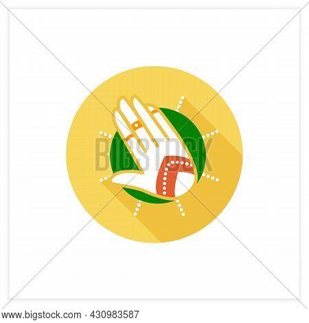 Mehndi Flat Icon. Ethnic Oriental Henna Patterns On Hand. Indian Bridal Ornaments. Henna Tattoo. Ele