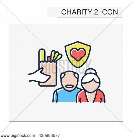 Old People Color Icon. Senior Citizens Charities. Help And Support For Seniors. Money, Food And Serv