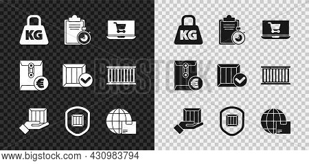 Set Weight, Verification Of Delivery List Clipboard, Shopping Cart Laptop, Delivery Hand With Boxes,