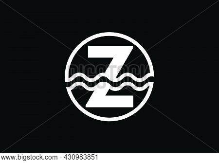Initial Z Monogram Alphabet In A Circle With Water Waves. Water Wave Logo Design. Logo For The Ocean