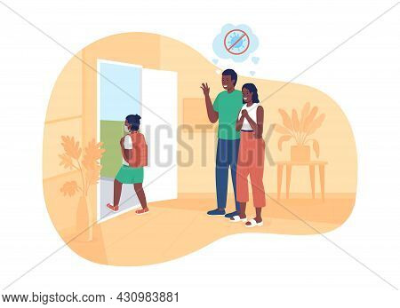 Happy Parents See Their Girl Off To School 2d Vector Isolated Illustration. Schoolgirl Returns Back