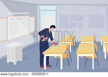 School Janitor In The Classroom Flat Color Vector Illustration. Take Virus Precaution Measures. Male