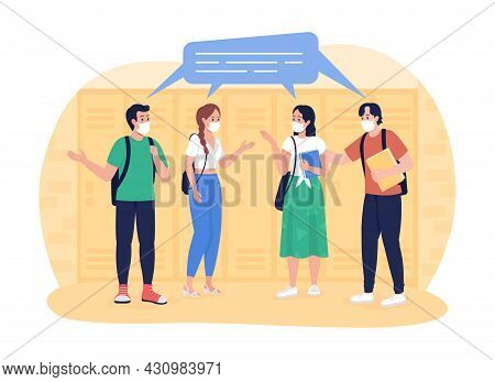 School Students In The Corridor 2d Vector Isolated Illustration. Pupils Chatting At School Hallway F