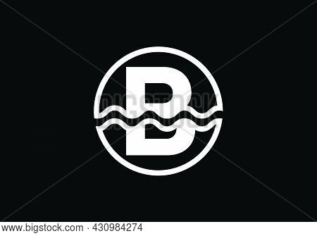 Initial B Monogram Alphabet In A Circle With Water Waves. Water Wave Logo Design. Logo For The Ocean
