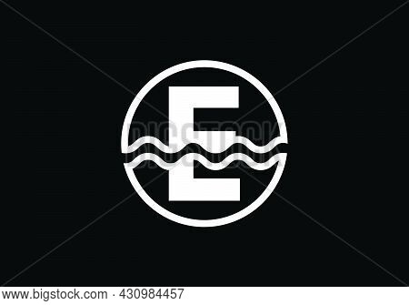 Initial E Monogram Alphabet In A Circle With Water Waves. Water Wave Logo Design. Logo For The Ocean