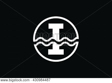 Initial I Monogram Alphabet In A Circle With Water Waves. Water Wave Logo Design. Logo For The Ocean