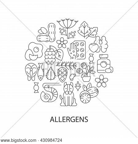 Common Allergens Abstract Linear Concept Layout With Headline. Allergy Reaction Reasons Minimalistic