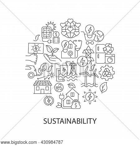 Sustainability Abstract Linear Concept Layout With Headline. World Ecology. Sustainability Minimalis