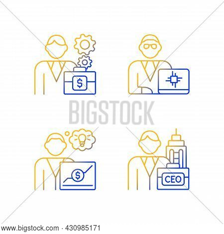 Senior Executive Roles Gradient Linear Vector Icons Set. Chief Executive Officer. Finance Director.