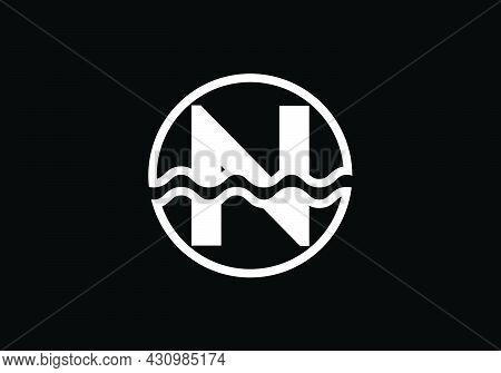 Initial N Monogram Alphabet In A Circle With Water Waves. Water Wave Logo Design. Logo For The Ocean