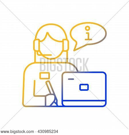 Receptionist Gradient Linear Vector Icon. Greeting Guests And Visitors. Answer Phone Calls. Front De