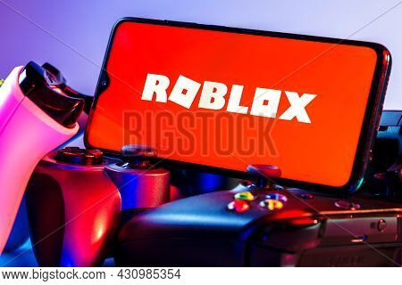 Kazan, Russia - August 25, 2021: Roblox Is An Online Game Platform And Game Creation System. A Smart