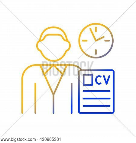 Job Applicant Gradient Linear Vector Icon. Apply For New Job. Signing Up For New Work Position. Recr