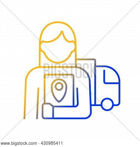 Logistician Gradient Linear Vector Icon. Control Movement Of Products And People. Coordination Of De