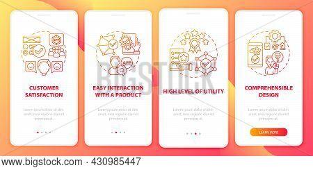 Application Usage Onboarding Mobile App Page Screen. Comprehensible Design Walkthrough 4 Steps Graph