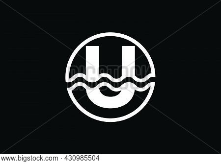 Initial U Monogram Alphabet In A Circle With Water Waves. Water Wave Logo Design. Logo For The Ocean