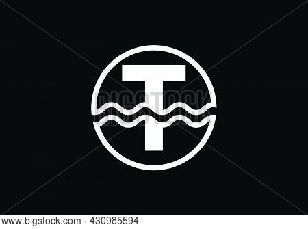 Initial T Monogram Alphabet In A Circle With Water Waves. Water Wave Logo Design. Logo For The Ocean