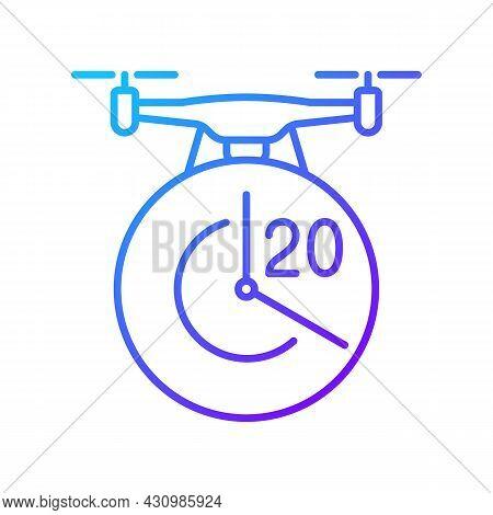 Maximum Flight Time Gradient Linear Vector Manual Label Icon. Twenty Minutes Limit. Thin Line Color