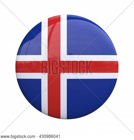 Iceland National Flag Badge, Nationality Pin 3d Rendering