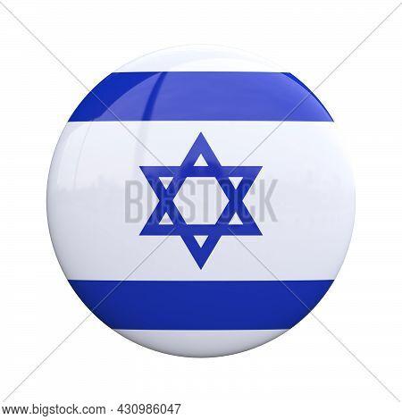 Israel National Flag Badge, Nationality Pin 3d Rendering