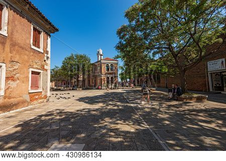 Murano, Italy - June 2, 2021: Street With People In Murano Island, Famous For The Artistic Glass Ind