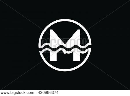 Initial M Monogram Alphabet In A Circle With Water Waves. Water Wave Logo Design. Logo For The Ocean
