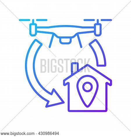 Return To Home Function Gradient Linear Vector Manual Label Icon. Autonomous Feature. Thin Line Colo