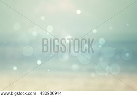 Abstract Sea Background. Abstract Tropical Sandy Summer Beach Background With Bokeh Lights On Light