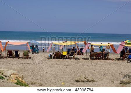 Beach Chairs On Sandy Beach