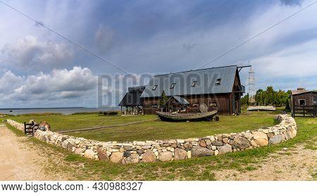 Koguva, Estonia - 16 August, 2021: Hotel And Restaurant Lodge In The Harbor Of Koguva On Muhu Island