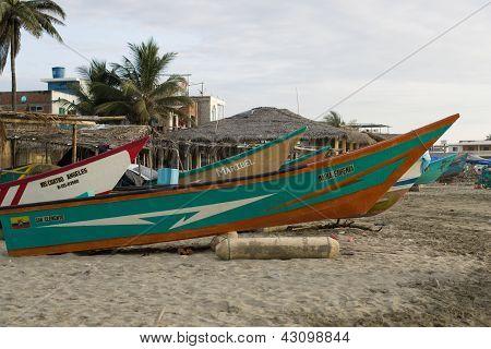 Beached Fishing Boat In Ecuador