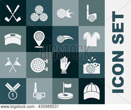 Set Baseball Cap, Golf In Water, Shirt, Location Golf Sport Club, Sun Visor, Crossed And Icon. Vecto