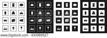 Set Macaron Cookie, Cake, Ice Cream In Waffle Cone, Jelly Cake, With Burning Candles, Chocolate Bar,