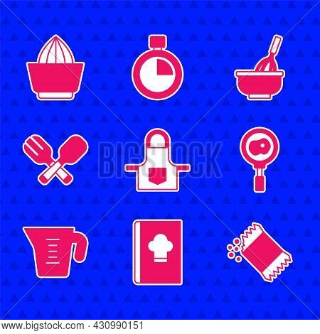 Set Kitchen Apron, Cookbook, Packet Of Pepper, Fried Eggs Frying Pan, Measuring Cup, Crossed Fork An