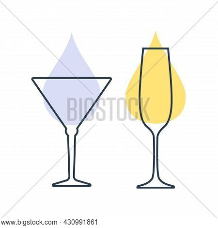 Two Glasses With Champagne And Martini. Shot Glass Drinks. Template Alcohol Beverage For Restaurant,