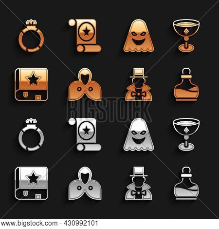 Set Mantle, Cloak, Cape, Medieval Goblet, Bottle With Potion, Magician, Ancient Magic Book, Ghost, S