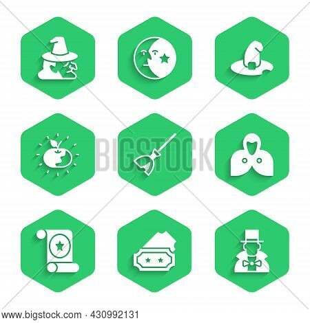 Set Witches Broom, Ticket, Magician, Mantle, Cloak, Cape, Scroll, Poison Apple, Hat And Icon. Vector
