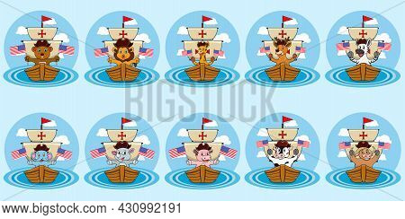 Happy Columbus Day America With Cute Animals And Bring Flags, Circle Label, Cartoon, Mascot, Animals