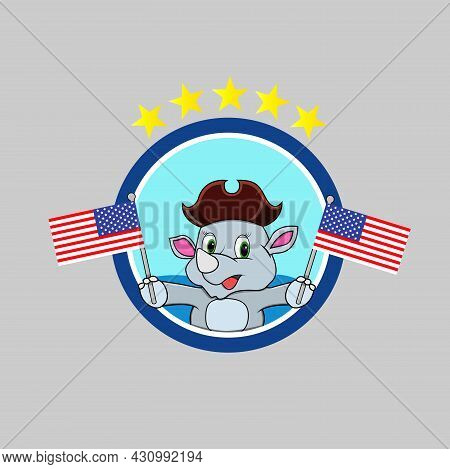 Happy Columbus Day America With Cute Rhinoceros And Bring Flags, Circle Label, Cartoon, Mascot, Anim