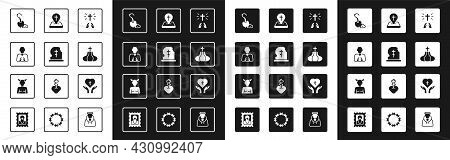Set Hands In Praying Position, Grave With Tombstone, Magic Staff, Church Tower, Location Church Buil