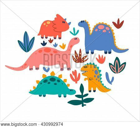 Big Set Of Cute Dinosaurs For Children. Colorful Dino Of Hand Drawn Style. Baby Clipart Design. Vect