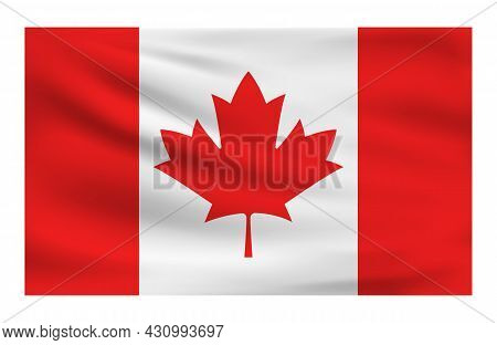 Realistic National Flag Of Canada. Current State Flag Made Of Fabric. Vector Illustration Of Lying W