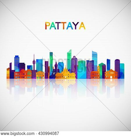 Pattaya Skyline Silhouette In Colorful Geometric Style. Symbol For Your Design. Vector Illustration.