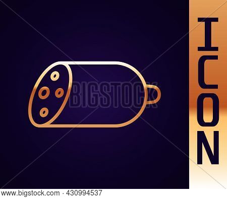 Gold Line Salami Sausage Icon Isolated On Black Background. Meat Delicatessen Product. Vector