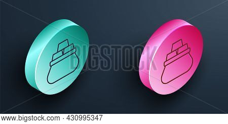 Isometric Line Bag Of Gold Bars Icon Isolated On Black Background. Sack With Golden Bars. Turquoise